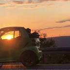 smart im Sonnenuntergang